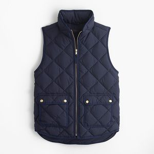 J.crew black quilted excursion vest puffy down